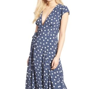 Tularosa Sid Wrap Maxi Dress Blue Polkadot, XS